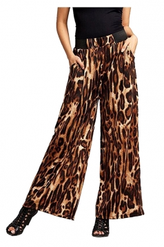 Womens Elastic High Waist Wide Legs Leopard Print Leisure Pants Brown