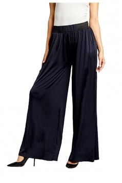 Womens Elastic High Waist Wide Legs Pocket Leisure Pants Navy Blue