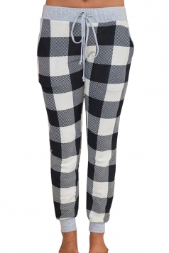 Womens High Waist Plus Size Color Block Leisure Pants Black And White
