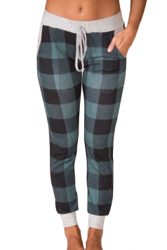 Womens High Waist Plus Size Plaid Color Block Leisure Pants Green