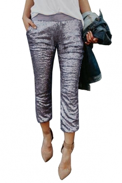 Womens High Waist Color Block Sequined Leisure Capri Pants Silvery