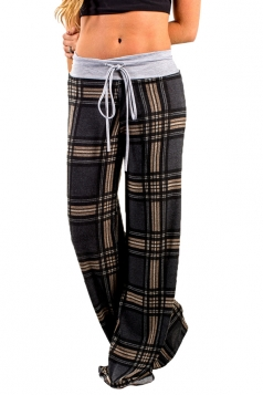 Womens Drawstring Waist Loose Plaid Color Block Leisure Pants Gray