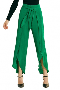 Womens Loose Waist Tie Side Slit Wide Leg Plain Leisure Pants Green