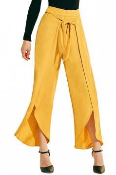 Womens Loose Waist Tie Side Slit Wide Leg Plain Leisure Pants Yellow