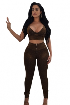 Womens Sleeveless Crop Top&High Waist Pants Pleuche Sports Suit Brown