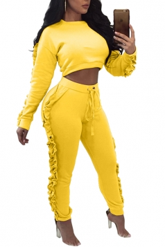 Crop Top&High Waist Pants Stringy Selvedge Two Piece Outfit Yellow