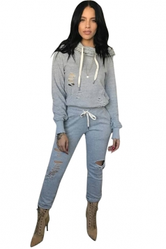 Womens Long Sleeve Hoodie Drawstring Cut Out Sports Suit Light Gray