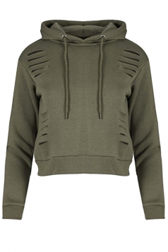Long Sleeve Hoodie&Elastic Pants Drawstring Sports Suit Army Green