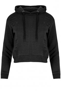 Womens Long Sleeve Hoodie&Elastic Pants Cut Out Sports Suit Black