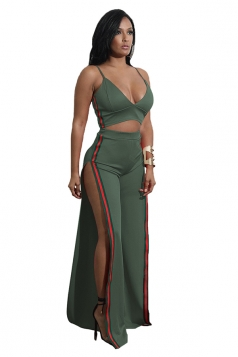 Womens Sexy Strap V-Neck Crop Top&Side Slit Pants Suit Army Green