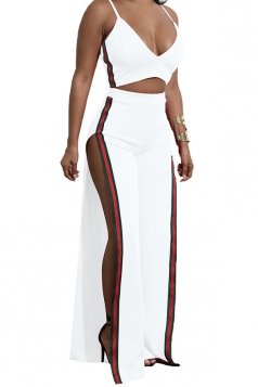 Womens Sexy Strap V-Neck Crop Top&Side Slit Pants Striped Suit White