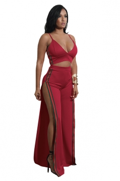 Womens Sexy Strap V-Neck Crop Top&Side Slit Pants Striped Suit Ruby