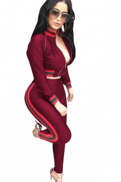 Womens Sexy Zipper Crop Top&Striped Leggings Sports Suit Ruby