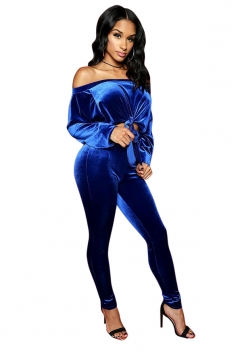 Womens Sexy Off Shoulder Tie Crop Top&High Waisted Leggings Suit Blue