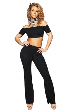 Womens Sexy Off Shoulder Crop Top&High Waisted Pants Plain Suit Black