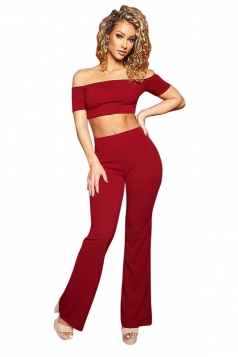 Womens Sexy Off Shoulder Crop Top&High Waisted Pants Plain Suit Ruby
