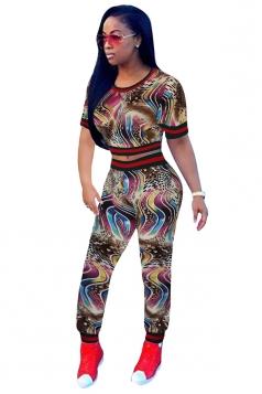 Womens Short Sleeve Crop Top&High Waisted Leggings Printed Suit Coffee