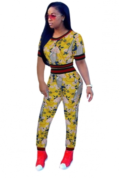 Womens Short Sleeve Crop Top&High Waisted Leggings Printed Suit Yellow