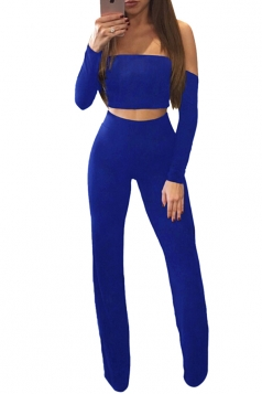 Womens Sexy Off Shoulder Lace Up Crop Top&Wide Leg Pants Suit Blue