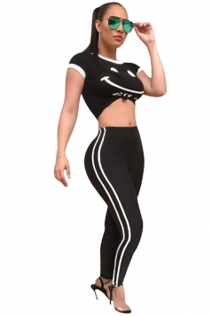 Womens Short Sleeve Top&High Waist Stripe Long Pants Sport Suit Black