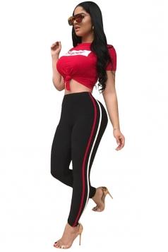 Womens Crew Neck Short Sleeve Top&High Waist Long Pants Sport Suit Red