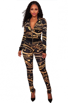 Womens Long Sleeve Jacket&High Waist Leggings Chain Printed Suit Black