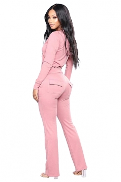 Womens Zipper Hoodie&Elastic Pants With Pocket Sports Long Suit Pink