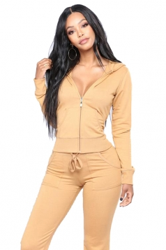 Womens Long Sleeve Hoodie&Elastic Pants With Pocket Plain Suit Yellow