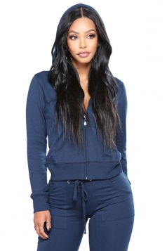 Womens Zipper Hoodie&Elastic Pants With Pocket Sports Suit Navy Blue