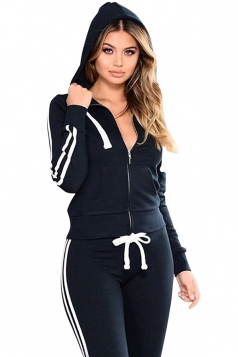 Womens Zipper Hoodie&Elastic Leggings Stripe Plain Long Suit Navy Blue