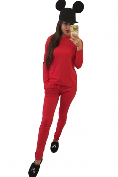 Womens Crew Neck Long Sleeve Top&Drawstring Waist Plain Suit Red