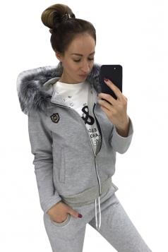Womens Fur Collar Zipper Hoodie&Drawstring Pants Two Piece Suit Gray