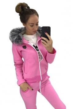 Womens Fur Collar Zipper Hoodie&Drawstring Pants Two Piece Suit Pink