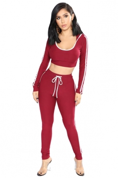 Sexy Hooded Striped Crop Top&High Waisted Leggings Sports Suit Red