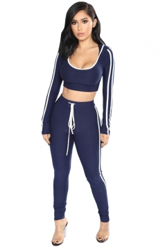 Sexy Hooded Striped Crop Top&High Waisted Leggings Suit Navy Blue