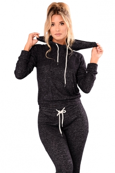 Womens Kangaroo Pocket Hoodie&Drawstring Pants Sports Suit Black