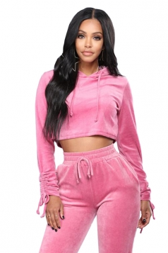 Womens Sexy Lace Up Crop Hoodie&Drawstring Pants Sports Suit Pink