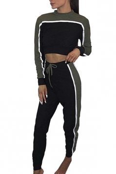 Womens Sexy Crew Neck Contrast Color Crop Top&Drawstring Pants Green