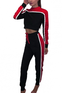 Womens Sexy Crew Neck Contrast Color Crop Top&Drawstring Pants Red