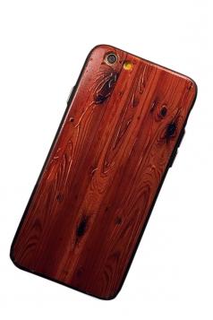 Orange Wood Grain Printed PC Shell&TPU Bumper Edge Case for iPhone
