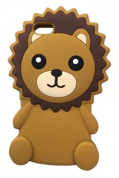 Brown Cartoon Bear with String Soft Silicone Case for iPhone