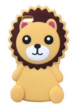 Yellow Cartoon Brown Bear with String Soft Silicone Case for iPhone