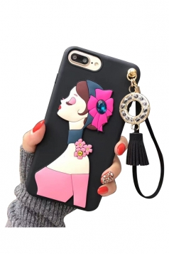 Black Durable Cartoon Sexy Girl with Fringe Pendant Case for iPhone