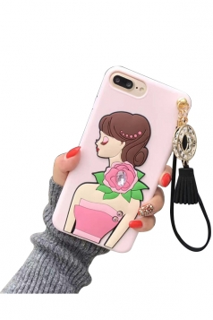 Pink Durable Cartoon Sexy Girl with Fringe Pendant Case for iPhone