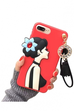 Red Durable Cartoon Cute Sexy Girl with Fringe Pendant Case for iPhone