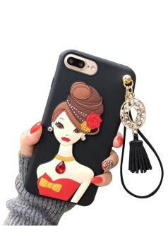 Yellow Durable Cartoon Cute Girl with Fringe Pendant Case for iPhone