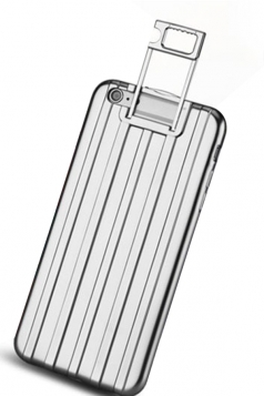 Silvery Distinctive Durable with Kickstand Suitcase Case for iPhone