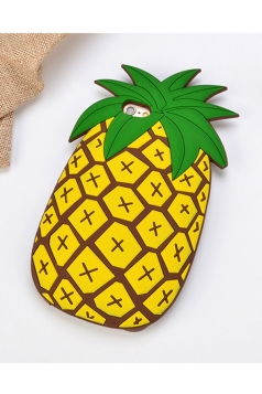 Yellow Cartoon Pineapple with String Soft Silicone Case for iPhone