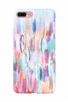 Durable Feather Printed Shell with TPU Bumper Edge Case for iPhone