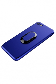 Blue Frosted Rotating Ring Kickstand Magnetic Case Cover for iPhone